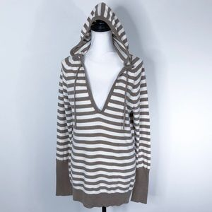 American Eagle Sweater Hooded Tunic Striped V Neck
